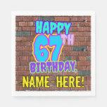 [ Thumbnail: 67th Birthday ~ Fun, Urban Graffiti Inspired Look Napkins ]