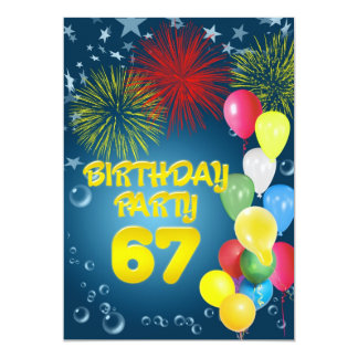 67th Birthday party Invitation with balloons