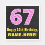 "[ Thumbnail: 67th Birthday: Pink Stripes and Hearts ""67"" + Name Napkins ]"