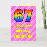 [ Thumbnail: 67th Birthday: Pink Stripes & Hearts, Rainbow # 67 Card ]