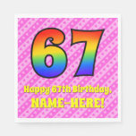 [ Thumbnail: 67th Birthday: Pink Stripes & Hearts, Rainbow # 67 Napkins ]
