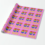 [ Thumbnail: 67th Birthday: Pink Stripes & Hearts, Rainbow # 67 Wrapping Paper ]
