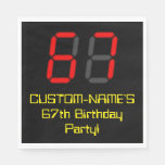"[ Thumbnail: 67th Birthday: Red Digital Clock Style ""67"" + Name Napkins ]"