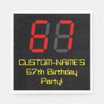 "[ Thumbnail: 67th Birthday: Red Digital Clock Style ""67"" + Name Napkins ]"