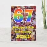 "[ Thumbnail: 67th Birthday; Rustic Autumn Leaves; Rainbow ""67"" Card ]"