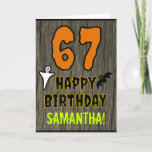 [ Thumbnail: 67th Birthday: Spooky Halloween Theme, Custom Name Card ]