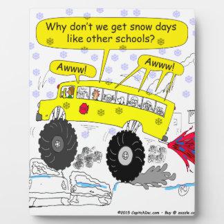 686 Monster school bus cartoon Plaque
