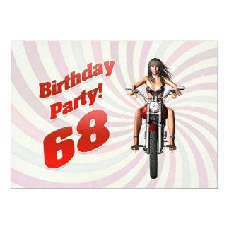 """68.a fiesta de cumpleaños con un chica en una moto invitación 5"""" x 7"""""""