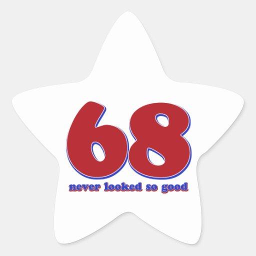 68 años calcomanía forma de estrellae