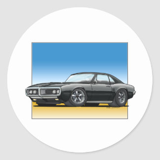 68 Firebird BLACK Classic Round Sticker