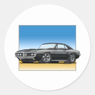 68 Firebird BLACK Classic Round Sticker