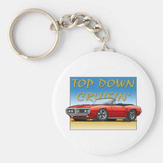 68 Firebird red convertible Basic Round Button Keychain