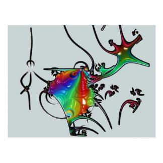 68 fractal fish postcard