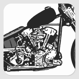 68 Knuckle Head Motorcycle Square Sticker
