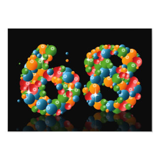 """68.o Fiesta de cumpleaños, con las burbujas y las Invitación 5"""" X 7"""""""