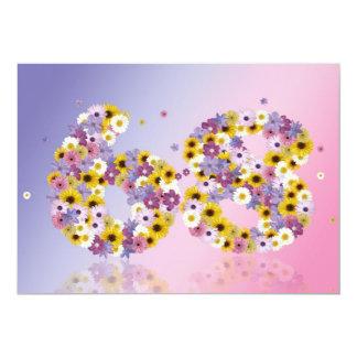 """68.o Fiesta de cumpleaños, con las letras Invitación 5"""" X 7"""""""
