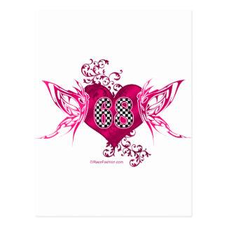 68 racing numbers butterflies postcard