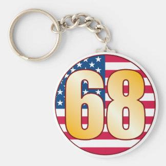 68 USA Gold Basic Round Button Keychain