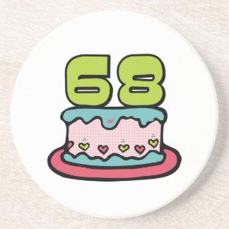 68 Year Old Birthday Cake Sandstone Coaster