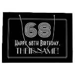 "[ Thumbnail: 68th Birthday — Art Deco Inspired Look ""68"" & Name Gift Bag ]"