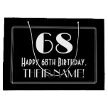 "[ Thumbnail: 68th Birthday: Art Deco Inspired Style ""68"", Name Gift Bag ]"