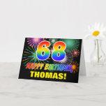 [ Thumbnail: 68th Birthday: Bold, Fun, Fireworks, Rainbow 68 Card ]