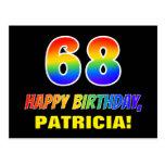 [ Thumbnail: 68th Birthday: Bold, Fun, Simple, Rainbow 68 Postcard ]