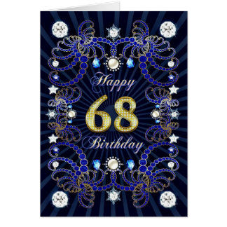68th birthday card with masses of jewels