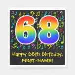 [ Thumbnail: 68th Birthday - Colorful Music Symbols, Rainbow 68 Napkins ]