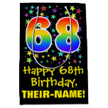 [ Thumbnail: 68th Birthday: Colorful Stars Pattern & Rainbow 68 Gift Bag ]