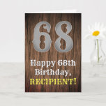[ Thumbnail: 68th Birthday: Country Western Inspired Look, Name Card ]