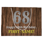 [ Thumbnail: 68th Birthday: Country Western Inspired Look, Name Gift Bag ]