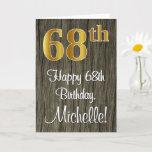 [ Thumbnail: 68th Birthday: Elegant Faux Gold Look #, Faux Wood Card ]