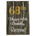 [ Thumbnail: 68th Birthday: Elegant Faux Gold Look #, Faux Wood Gift Bag ]