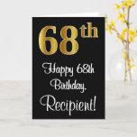 [ Thumbnail: 68th Birthday ~ Elegant Luxurious Faux Gold Look # Card ]