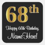 [ Thumbnail: 68th Birthday – Elegant Luxurious Faux Gold Look # Sticker ]