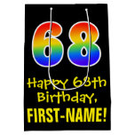 "[ Thumbnail: 68th Birthday: Fun, Bold, Colorful, Rainbow ""68"" Gift Bag ]"