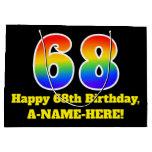 [ Thumbnail: 68th Birthday ~ Fun, Colorful, Vibrant, Rainbow 68 Gift Bag ]