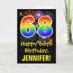 [ Thumbnail: 68th Birthday: Fun Fireworks Pattern + Rainbow 68 Card ]