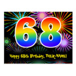 [ Thumbnail: 68th Birthday – Fun Fireworks Pattern + Rainbow 68 Postcard ]