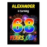 "[ Thumbnail: 68th Birthday - Fun Fireworks, Rainbow Look ""68"" Postcard ]"