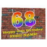 [ Thumbnail: 68th Birthday: Fun, Graffiti-Inspired Rainbow # 68 Gift Bag ]