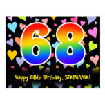 [ Thumbnail: 68th Birthday: Fun Hearts Pattern, Rainbow 68 Postcard ]