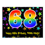 [ Thumbnail: 68th Birthday: Fun Stars Pattern, Rainbow 68, Name Postcard ]