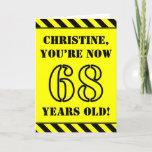 [ Thumbnail: 68th Birthday: Fun Stencil Style Text, Custom Name Card ]