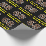 "[ Thumbnail: 68th Birthday: Name & Faux Wood Grain Pattern ""68"" Wrapping Paper ]"