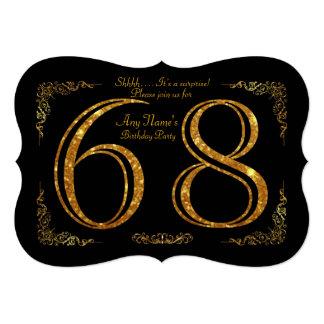 68th,Birthday party 68th,great Gatsby,black & gold Card