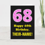 "[ Thumbnail: 68th Birthday: Pink Stripes and Hearts ""68"" + Name Card ]"