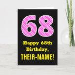 "[ Thumbnail: 68th Birthday: Pink Stripes and Hearts ""68"" + Name Card ]"