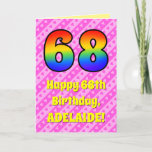 [ Thumbnail: 68th Birthday: Pink Stripes & Hearts, Rainbow # 68 Card ]